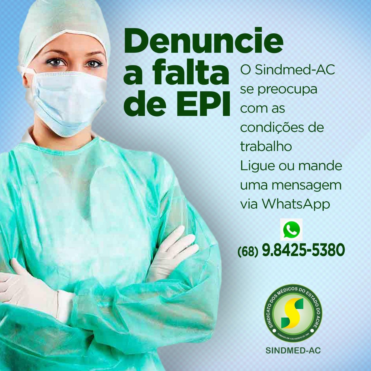 Sindmed-AC lança disque denúncia pela falta de EPI