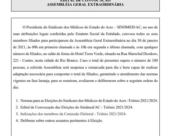 Sindmed-AC divulga novo edital para planejar eleição da entidade