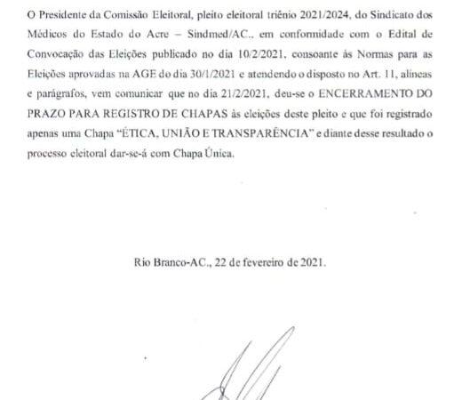 Comissão Eleitoral divulga inscrição de uma chapa para a eleição da nova diretoria do Sindmed-AC/
